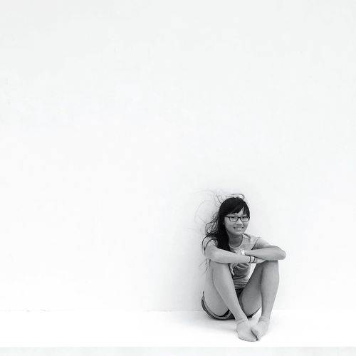 My girl. Sitting White Background Childhood Kids Portrait Black And White Blackandwhite Photography Black & White Monochrome EyeEm Gallery OpenEdit First Eyeem Photo Black And White Photography Girl