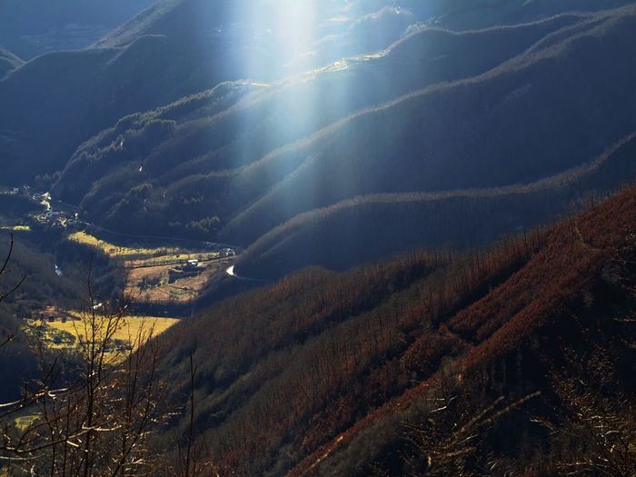 Mountain Beauty In Nature Scenics - Nature Environment Tranquility No People Tranquil Scene Nature Landscape Sunlight Sky Plant Day Tree Mountain Range Outdoors Sunbeam Idyllic Land Lens Flare