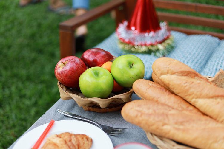 Apple Eating Food Fruit Garden Green Red Table