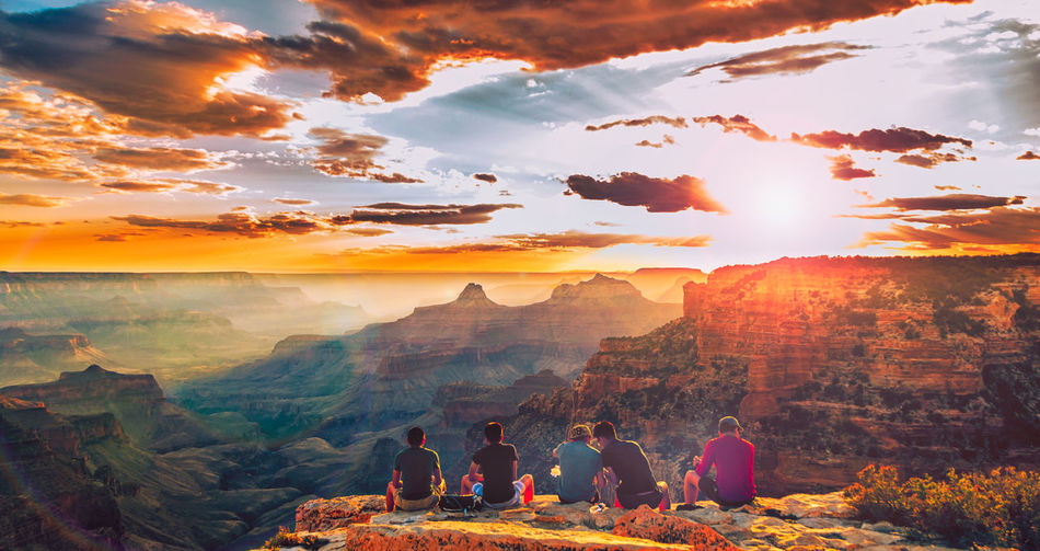 Enjoying the sunset with some friends at the North Rim of the Grand Canyon Grand Canyon Travel USA Beauty In Nature Canyon Cliff Cloud - Sky Group Of People Landscape Leisure Activity Lifestyles Men Mountain Mountain Range Nature Non-urban Scene Outdoors People Real People Scenics - Nature Sky Sunset Sunset #sun #clouds #skylovers #sky #nature #beautifulinnature #naturalbeauty #photography #landscape Tranquil Scene First Eyeem Photo
