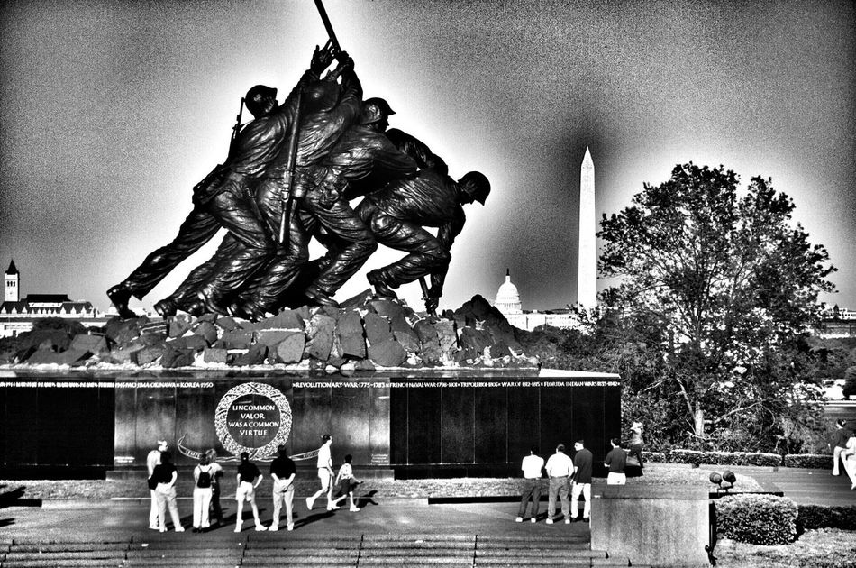 The Iwo Jima Memoria Washington DC Washington, D. C. America Military EyeEmbestshots HDR EyeEm Best Shots - Black + White Blackandwhite Black&white Black And White Black And White Photography Landmark Tourist Destination Travel Photography Travel EyeEm Best Shots Blackandwhitephotography Taking Pictures Scenics Black & White Statue Washington DC Washington People Watching People Government