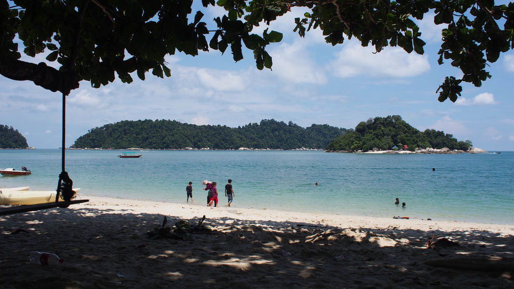 Tranquility view of blue ocean and blue sky on Pangkor Island, Malaysia Holiday Jet Boat Nature Ocean View Pangkor Island Beach Beauty In Nature Blue Blue Sky Blue Sky And Clouds Cloud - Sky Day Leisure Activity Nature Nature_collection Ocean Outdoors Sand Scenics Sea Shore Sky Tree Water