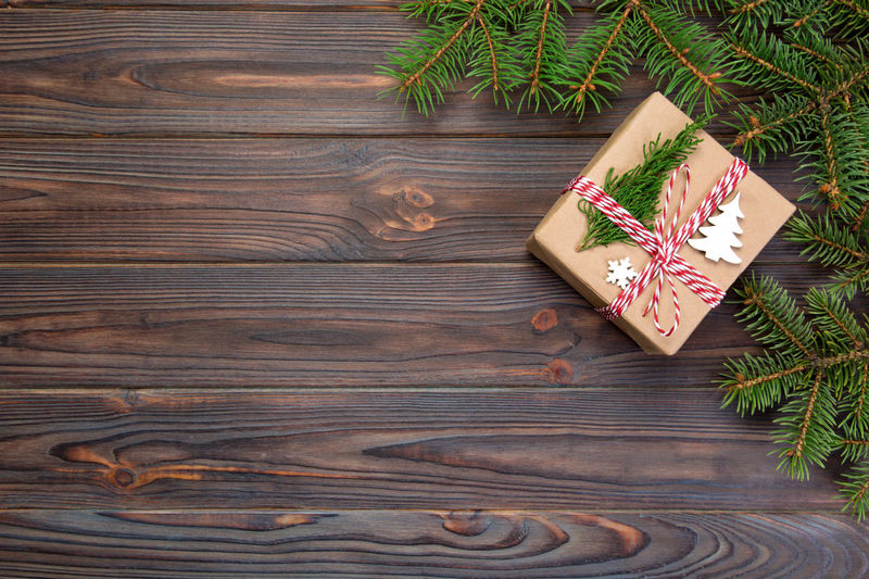 High angle view of christmas tree on wooden table
