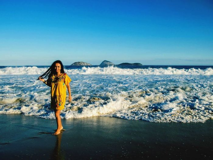 Sea Clear Sky One Person Blue Looking At Camera Nature Standing Portrait Full Length Water Outdoors Horizon Over Water Beauty In Nature One Young Woman Only Scenics Young Adult Real People Sky Beach One Woman Only Riodejaneiro #FREIHEITBERLIN