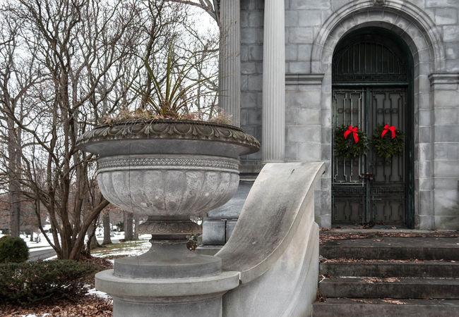 Architectural Column Architecture Cemetary Christmas Column Crypt Death Exterior Grave Historic Old Ornate Outside Steps Stone Tomb Winter Wreath