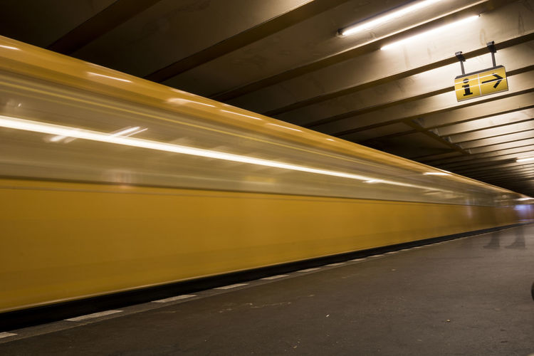 Ubahn Berlin UbahnStation Blurred Motion Illuminated Motion Public Transportation Rail Transportation Speed Subway Station Subway Train Transportation Ubahn Ubahnhof Yellow Mobility In Mega Cities