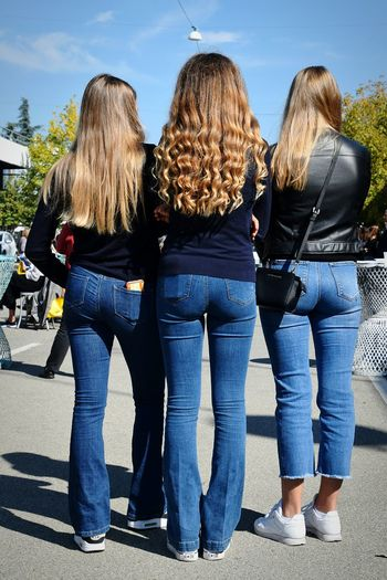 Blond Hair Young Women Streetphotography Friendship Togetherness Young Women Bonding Women Arm Around Portrait Rear View Jeans Small Group Of People Denim Cool