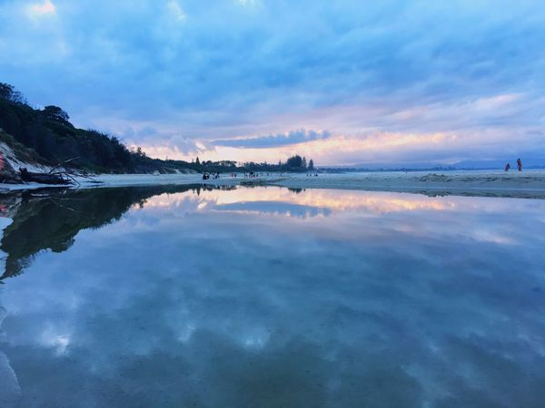 Sky Reflection Water Cloud - Sky Nature Beauty In Nature Scenics Tranquil Scene Tranquility No People Outdoors Lake Sunset Tree Day Byronbay Sunset_collection Sunset At The Beach Beachphotography Beach And Sky Sunset And Clouds  Beach Photography Beachlovers Be Natural
