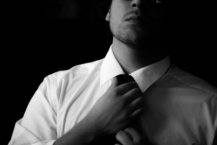 Button Up Blackandwhite Black & White Contrast Shirt And Tie Shades Of Grey