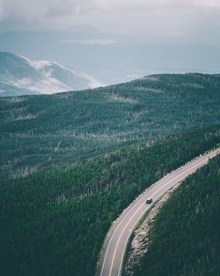 Aerial view of road amidst landscape against sky