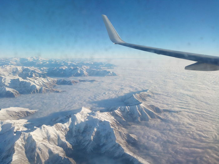 Tops above the clouds Alps Italy Amazing View Cloud Air Vehicle Aircraft Wing Airplane Cold Temperature Day Exciting Flying Mountain Nature No People Non-urban Scene Sky Snow Sun Tops Of The Mountains Winter
