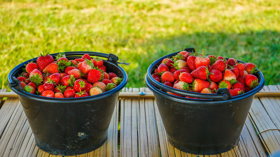 Close-up of strawberries in container on table