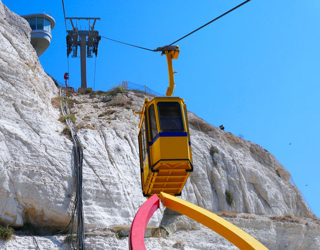 Low angle view of overhead cable car against mountain
