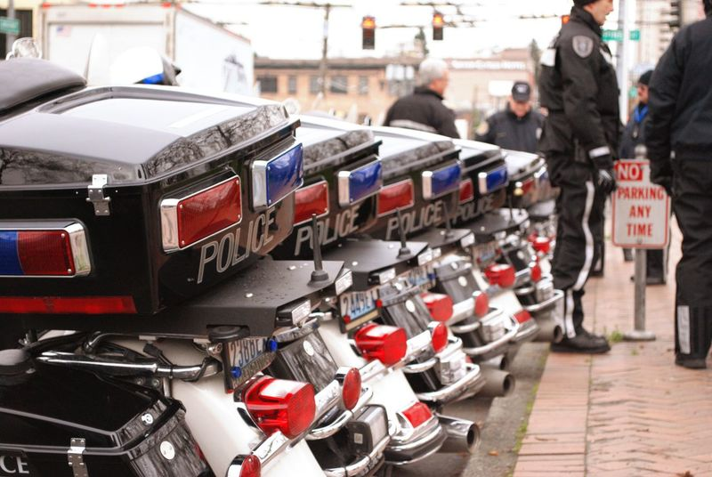 Portrait Of America Police State Police Motorcycles Congregate Protest Freedom