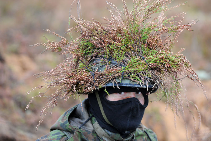 Portrait of soldier with plant on helmet