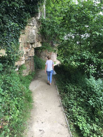 Rear View Full Length Of Woman Walking By Trees At Creswell Crags