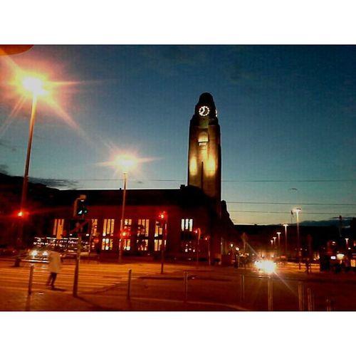 23:40h The sky is still blue above Helsinki 🌃 Soleamezzanotte Sun Lightday Daylight Helsinki Italy Finland Station Railway Railroad Train Bus Tram Tramonto