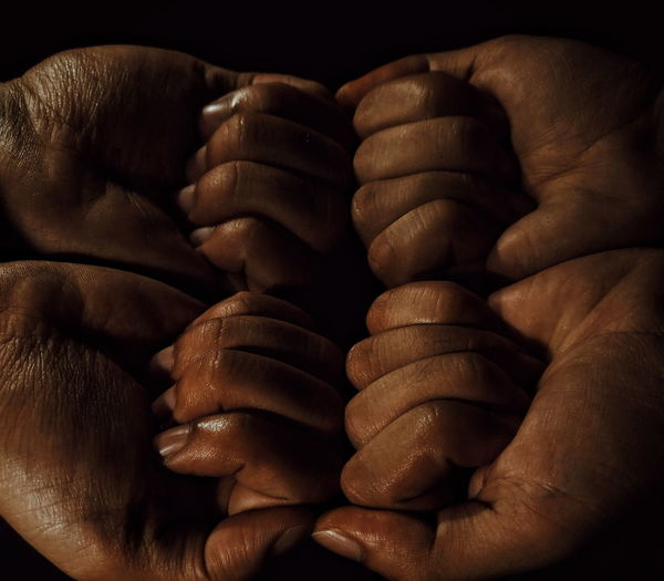 Cropped Image Of Hands With Sweat