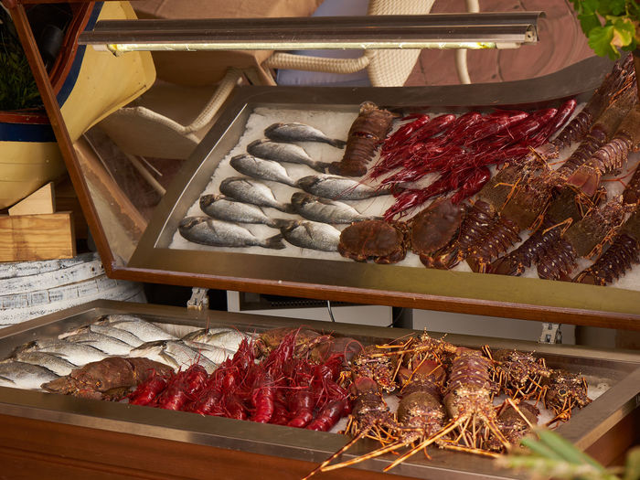 View of fresh seafood on display