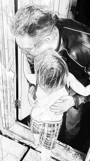 Grandson . Luv Him Bunches Grandpa And Grandson Grandpa's House Hugs ❤ Sketchfilter Grandparents_love EyeEmNewHere Be. Ready. Black And White Friday