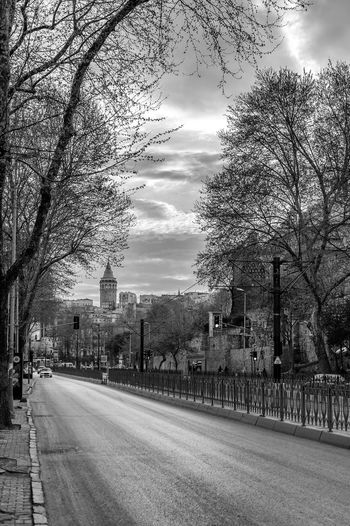 Road passing through city
