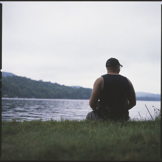 Looking out over 4th lake. Lake Adirondacks Mediumformat Slidefilm Bronica