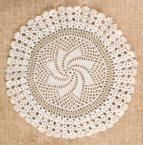 Circle Backgrounds Close-up Day Decorative Directly Above Lacy Dolly No People Pattern Textile Textured