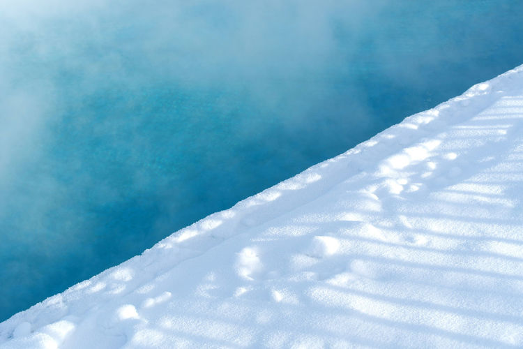 Background Open Pool Blue Colors Cold Temperature Hot Water Powder Snow Snow White Color Winter
