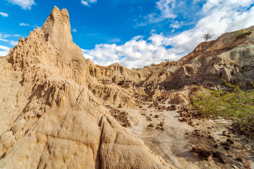 Dry desert with a deep blue sky Arid Blue Clouds Colombia Desert Drought Dry Heat Hot Huila  Landscape Nature Pillar Red Rock Sand Scenery Sky Stone Tatacoa Tourism Travel Valley View Wilderness