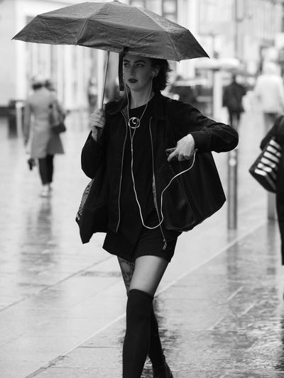 Upclosestreetphotography Up Close Street Photography Upclose Street Photography Street Streetphotography Monochrome Mono Blackandwhite Black And White Blackandwhite Photography Glasgow  Scotland Girl Girls With Tattoos Umbrella Rain Rainy Days Cute