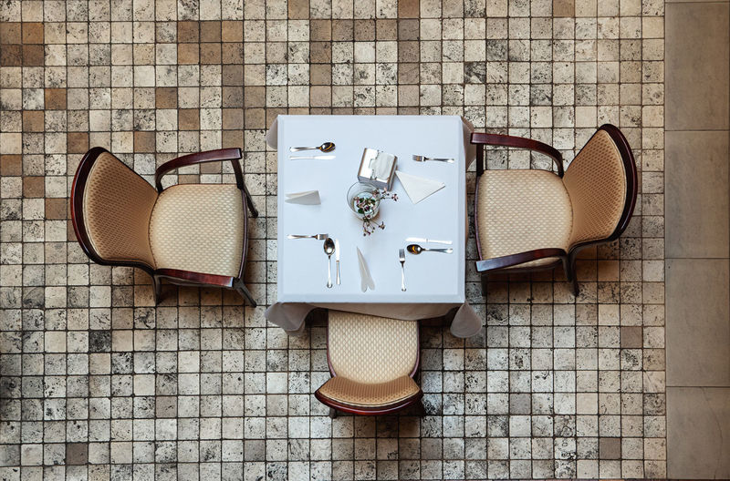 High angle view of objects on table against wall