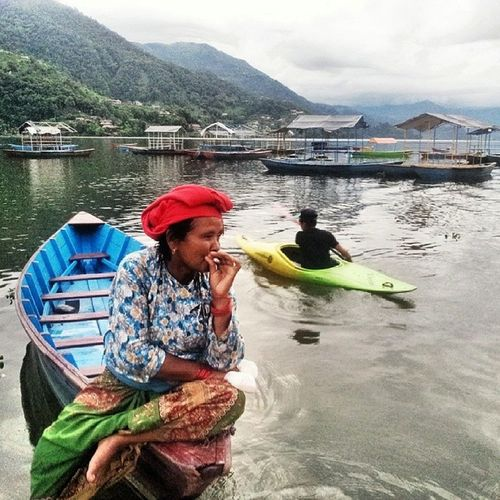 Nepali  Women Boats Boatwomen rest smoketime nepal pokhara asia evening photooftheday instaphoto