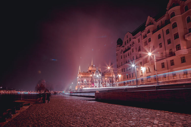 this velvet night City At Night Budapest Budapest, Hungary Danube Danube River River Bank  Pink Night Photography Night Lights City Illuminated Cityscape Water Nightlife Beach Long Exposure Sky Architecture