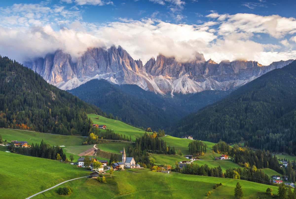 Santa Maddalena, Dolomites, Italy Dolomites, Italy Architecture Beauty In Nature Building Exterior Built Structure Cloud - Sky Day Grass Green Color House Landscape Mountain Mountain Range Nature No People Outdoors Panoramic Scenics Sky Tranquil Scene Tranquility Tree