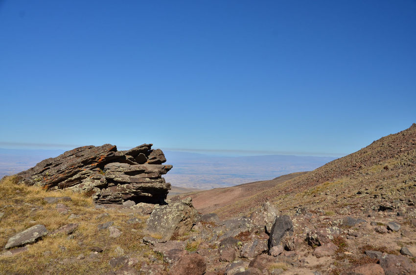 Aragat Armenia Hiking September Adventure Beauty In Nature Blue Clear Sky Copy Space Day Eroded Horizon Land Mount Aragat Nature No People Rock Rock - Object Rock Formation Scenics - Nature Sky Solid Tranquil Scene Travel Destination W-armenien