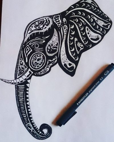 Drawingoftheday Draw Drawings Drawing Picture Picoftheday Pic ArtWork Art Artist Artistsoninstagram Artistic Artists Noiretblanc Black White Noir Blanc Blackandwhite Elephant Tribal