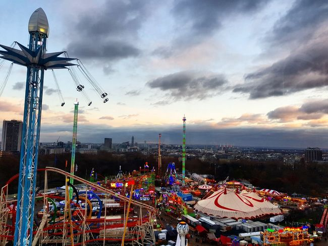 A view from up high Winter Wonderland Festive Sunset_collection Urban Skyline London Fun Bestoftheday Christmastime Lights Funfair Amusement Park Colour LondonSkies Urban View View From Above Uphigh Seeformiles London Lifestyle Travel Travel Photography Samsungphotography Samsungs8 Nofilter Sky Amusement Park Sunset Arts Culture And Entertainment No People Outdoors Stories From The City