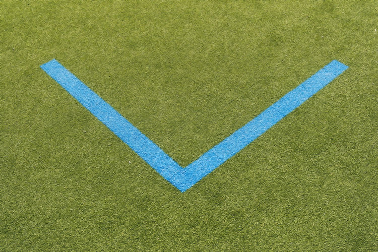 Marking lines on playing field Arrow Berlin Copy Space Germany 🇩🇪 Deutschland Horizontal Mock Artificial Backgrounds Blue Close-up Color Image Directly Above Football Field Grass Green Color Marking Line No People Outdoors Playing Field Soccer Field Sport Synthetic White Color