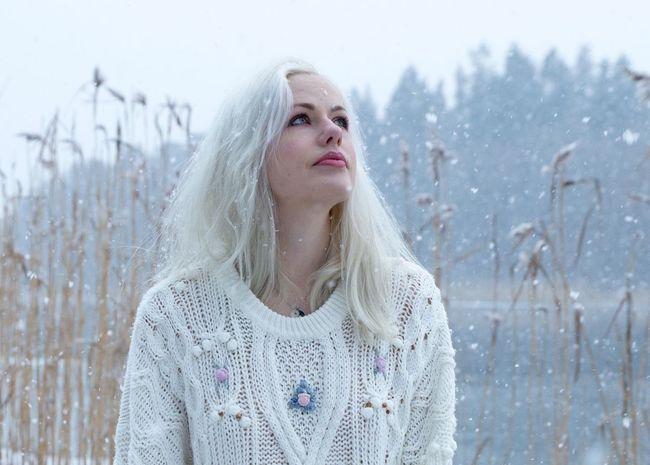 Watching snowflakes. Snow Snowfall Snowflakes Winter Portrait Portrait Of A Woman Portrait Photography Nikond600 Tamron2470 Sweden