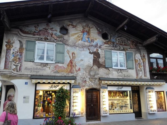 Architecture Building Exterior Built Structure Colorful Cultural Cultural Art Decoration German Painting Traditional Wall Art
