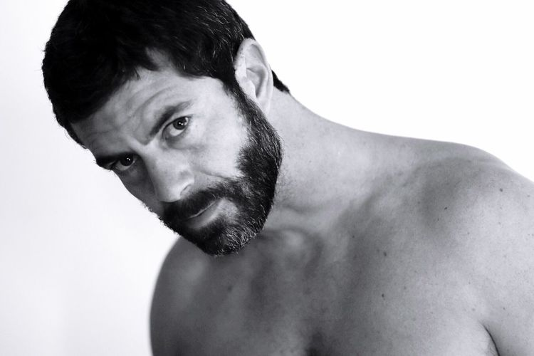 Shirtless White Background One Person Studio Shot One Man Only Young Men Portrait Young Adult Real People Men Handsome Headshot Beard Masculinity Close-up Indoors  Adult People Adults Only Be. Ready. Black And White Friday
