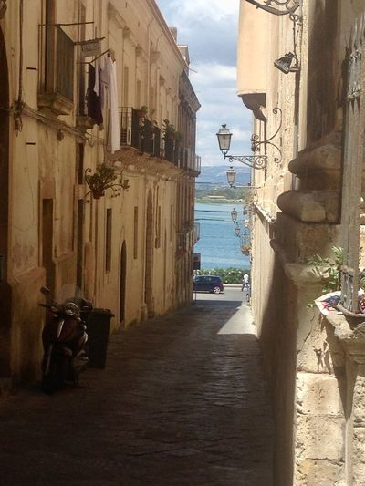 Lampposts Balcony Ortigia.Siracusa Sicily, Italy Alley With Outlet To The Sea Be. Ready. EyeEmNewHere Sea View
