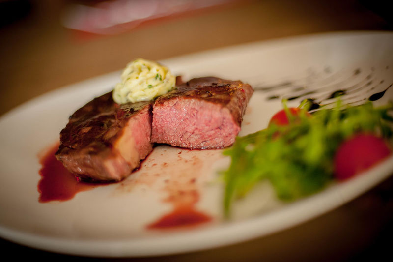 Fillet in plate on table