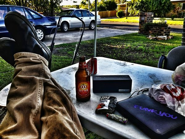 Finished Work Legs Up Playin Tunes Hilltop Hoods  Xxxx Beer FTW Free The World