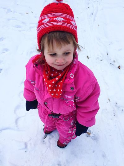 My little Angel :-) Winter Snow Cold Temperature Warm Clothing Childhood Happiness