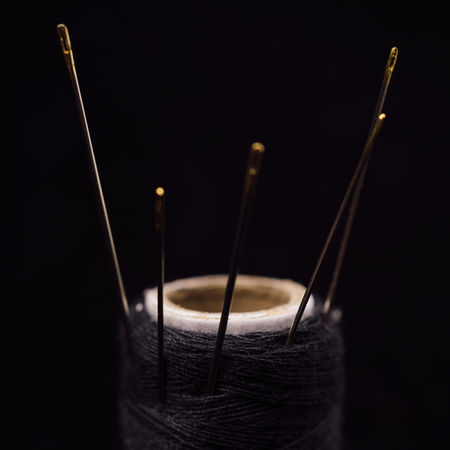 Black Background Close-up Focus On Foreground Indoors  Knitting Needle Needle Selective Focus Sewing Needle Still Life String Studio Shot Thread Two Objects