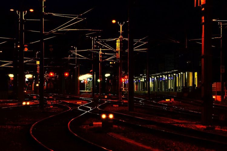Train Railway Station Light Night