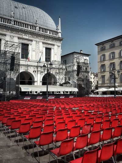 Almost ready for the show Visit Brescia Architecture Building Exterior Town Hall Square Arts Culture And Entertainment My City Chairs In A Row City Urban Geometry Cityscape City Life Urban Photography Music Summer Festival Urban Art Urban Perspectives Concert Venue Outdoors Activities Show No People