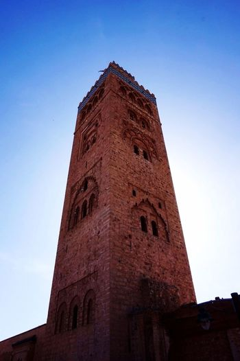 Morocco Marakesh Koutoubia Mosque Sunset Perspective From Below