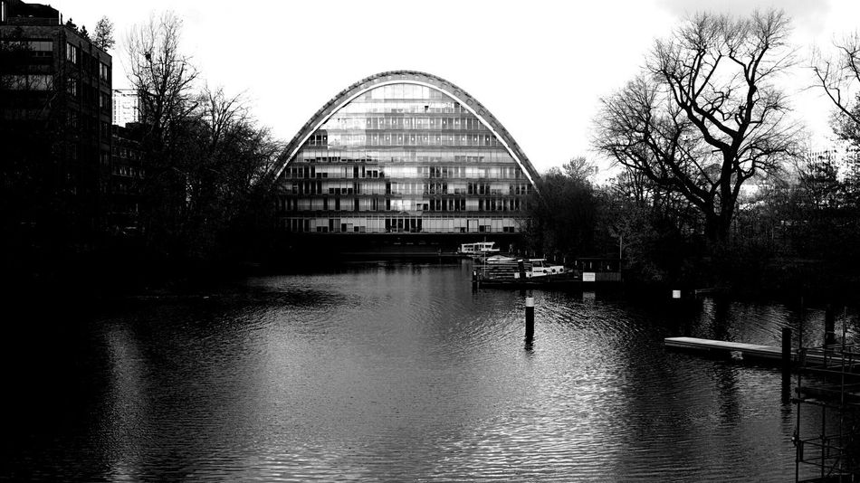 Architecture Modern Architecture Glass House Urban Architecture Canal Ships Black And White Blackandwhite Olympus Epl7